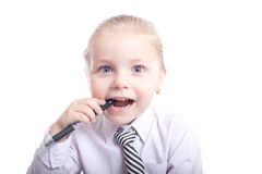Girl with pen Royalty Free Stock Photo