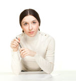Girl with Pen Stock Photos
