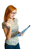 Girl with pen and blue folder Stock Image