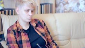 Girl pen tablet phone stock video footage