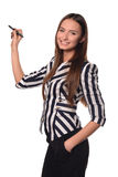 Girl with pen. Young girl in jacket  with pen Royalty Free Stock Photography