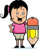 Girl Pencil Royalty Free Stock Images