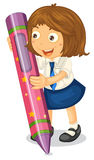 Girl with a pencil Royalty Free Stock Photo