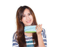 Girl with pencil box Royalty Free Stock Photo