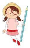 Girl with pencil Stock Photos