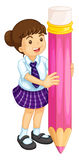 Girl and pencil Royalty Free Stock Images