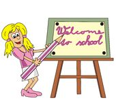 Girl and pencil. The teacher stands by the blackboard with a large pencil Royalty Free Stock Images