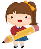 Girl and pencil Stock Photo