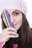 Girl with pencils Royalty Free Stock Photo