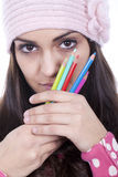 Girl with pencils Royalty Free Stock Photos