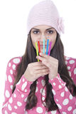 Girl with pencils Royalty Free Stock Images