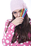 Girl with pencils Stock Photography