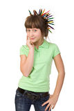 Girl with pencils Royalty Free Stock Image