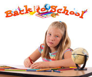 Girl with back to school theme isolated on white Royalty Free Stock Photos