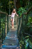 The girl on the pendant bridge in forest. Royalty Free Stock Images