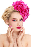 Girl with peonies Royalty Free Stock Photography