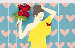 Girl with peonies, butterfly heart holiday present vector illustration