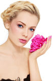 Girl with peony Royalty Free Stock Images