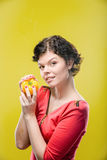 Girl with pepper Royalty Free Stock Photography