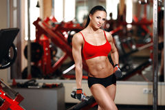 Girl with perfect body with dumbbells in the gym royalty free stock photography