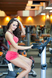 Girl with perfect body in fitness hall Stock Photography