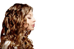 Girl with perfect curls Stock Photography