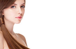 Girl with perfect skin isolated over white background Royalty Free Stock Photo