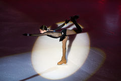Girl perform at Young sportives display an iceskating shot Royalty Free Stock Photography