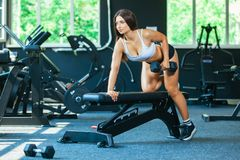 A girl performs a dumbbell with one hand in the slope using a bench. exercise on the broadest back muscles with. Dumbbells side view stock images