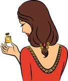 Girl with perfume. Vintage fashion girl with perfume Stock Photography