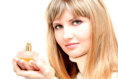 Girl with perfume Royalty Free Stock Photo