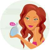 Girl with perfumery. The beautiful girl with spirits in hands Stock Photo