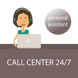 The girl - personal assistant with the laptop and  headphones in the call center Stock Photo