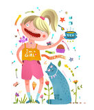 Girl and pet cat drinking tea girlish design elements. Teenager kid and animals tea party signs collection. Vector illustration stock illustration