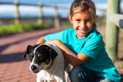 Girl pet dog Royalty Free Stock Image