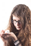girl with pet hamster mouse Stock Photography