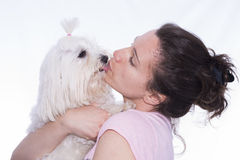 Girl and pet. Stock Photography