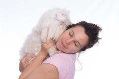Girl and pet. Stock Photos