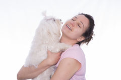 Girl and pet. Royalty Free Stock Photo