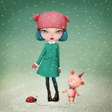 Girl and pet Pig stock illustration