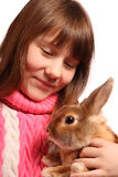 Girl with pet rabbit Royalty Free Stock Image