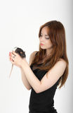 Girl with a pet rat Royalty Free Stock Photo