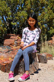 Girl in Petrified Forest Stock Photo