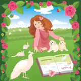 Girl with pets. A girl sitting on a meadow. In the  file the girl and pets, the flowers and the background are on separate layers, so they can easily be moved or Royalty Free Stock Photography