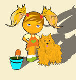 Girl with pets Royalty Free Stock Photo