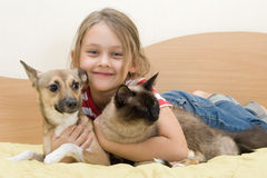 Girl with pets. On a bed of yellow color Stock Images