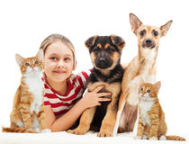 Girl and pets Royalty Free Stock Photography