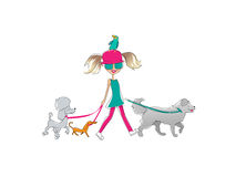 Girl and pets Royalty Free Stock Image