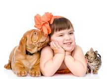 Girl with pets - dog and cat. isolated on white background Royalty Free Stock Photos