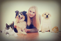 Girl and  pets Stock Photos